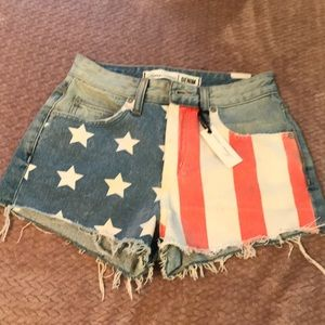 American Flag 4th of July Jean Shorts